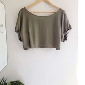 Moda International Olive Green Cuffed Cropped Top
